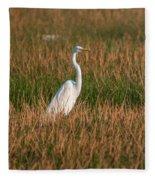 Great Egret At Coba Village Fleece Blanket
