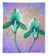2 Green Orchids. Sunrise Fleece Blanket