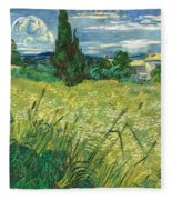 Green Wheat Field With Cypress Fleece Blanket