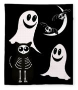 Halloween Bats Ghosts And Cat Fleece Blanket