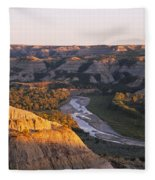 High Angle View Of A River Passing Fleece Blanket