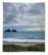 Holywell Bay Sunset Fleece Blanket