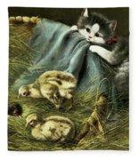 Kitten Peeking In On Chicks Fleece Blanket