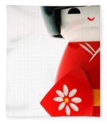 Kokeshi Doll Fleece Blanket