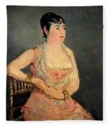Lady In Pink Fleece Blanket