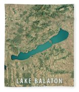 Lake Balaton 3d Render Satellite View Topographic Map Fleece Blanket