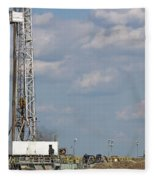 Land Oil Drilling Rig On Oilfield Fleece Blanket