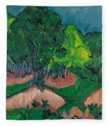 Landscape With Chestnut Tree Fleece Blanket