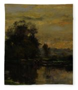 Landscape With Ducks Fleece Blanket