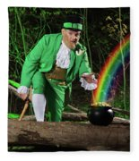 Leprechaun With Pot Of Gold Fleece Blanket
