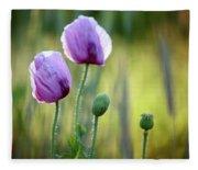 Lilac Poppy Flowers Fleece Blanket