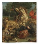 Lion Hunt Fleece Blanket