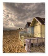 Mersea Island Beach Huts Fleece Blanket