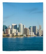 Miami Florida City Skyline Morning With Blue Sky Fleece Blanket