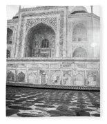 Monochrome Taj Mahal - Sunrise Fleece Blanket