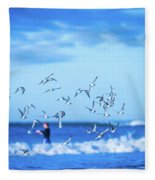 Morning Sunrise Over Ocean Waters Fleece Blanket