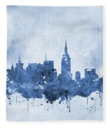 New York Skyline-blue Fleece Blanket