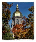 Notre Dame's Golden Dome Fleece Blanket