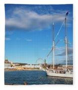 Old Sailing Boats In Helsinki City Harbor Port Finland Fleece Blanket