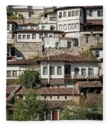 Ottoman Architecture View In Historic Berat Old Town Albania Fleece Blanket