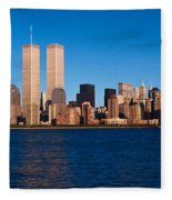 Panoramic View Of Lower Manhattan Fleece Blanket
