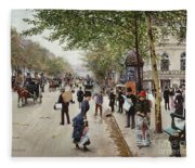 Parisian Street Scene Fleece Blanket
