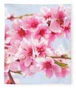 Peach Flowers Fleece Blanket