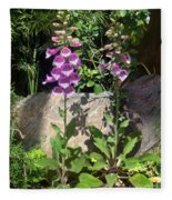 2 Pink Bell Flowers. Foxglove Fleece Blanket