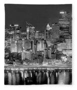 Pittsburgh Pennsylvania Skyline At Night Panorama Fleece Blanket