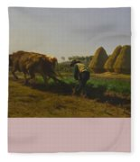 Cattle At Rest On A Hillside In The Alps Fleece Blanket