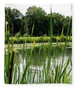 Pond At Beaver Island State Park In New York Fleece Blanket