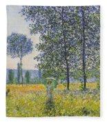 Poplars In The Sunlight Fleece Blanket