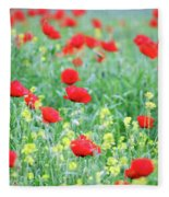 Poppy Flowers Meadow Spring Season Fleece Blanket