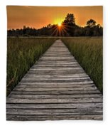 Prairie Boardwalk Sunset Fleece Blanket
