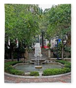 Public Fountain And Gardens In Palma Majorca Spain Fleece Blanket