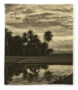 Rice Field Sunrise - Indonesia Fleece Blanket