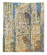 Rouen Cathedral, West Facade, Sunlight Fleece Blanket