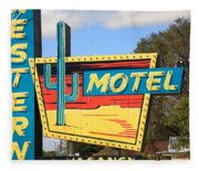 Route 66 - Western Motel Fleece Blanket