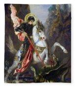 Saint George And The Dragon Fleece Blanket