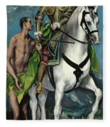 Saint Martin And The Beggar Fleece Blanket