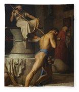 Samson And The Philistines Fleece Blanket