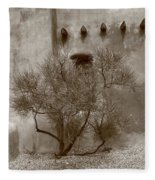 Santa Fe - Adobe Building And Tree Fleece Blanket