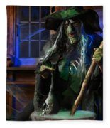 Scary Old Witch With A Cauldron Fleece Blanket