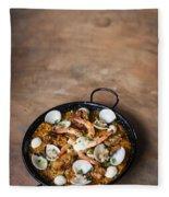 Seafood And Rice Paella Traditional Spanish Food Fleece Blanket