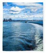 Seattle Washington Cityscape Skyline On Partly Cloudy Day Fleece Blanket