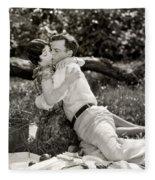 Silent Film Still: Picnic Fleece Blanket