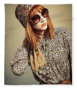 Sixties Retro Fashion Fleece Blanket