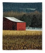 Snowy Red Barn In Winter Fleece Blanket