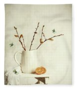 Springtime Still Life Fleece Blanket
