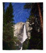 Star Trails At Yosemite Falls Fleece Blanket